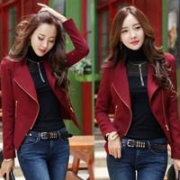 Free Shipping Spring And Autumn Fashion Irregular Jackets Women Long Sleeve Elegant Short Coat Outwear T1140 Wine Red/Black