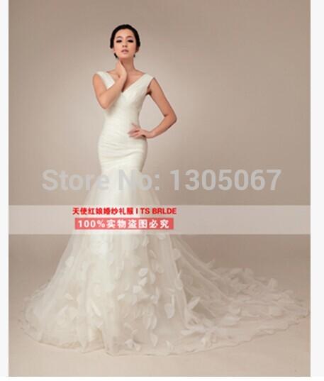 Flowers decoration double-shoulder slim waist fish train wedding dress formal dress Freeshipping(China (Mainland))