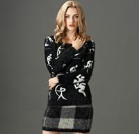 Free shipping fashion and hot sale 2014 new women winter Feather yarn knit round neck base shirt sweater