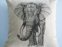 "New Vintage Cotton Linen Square Throw Pillow Case Cushion Cover  pillowcase Shell Elephant 18"""