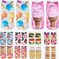 3D Printed Food Women's Socks  Ice cream calcetines Casual Charactor Socks Unisex Low Cut Ankle Socks Multiple Colors Harajuku