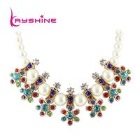 Fashion Bijuterias Alloy Colorful Rhinestone Big Created  Pearl Collar Necklace