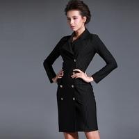women work wear new  OL fashion sexy buttons black stripe printed pockets slim fit one-piece bodycon casual dress