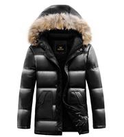 Top 90% white duck down , men PU jacket , warm Winter coats long sections , Brand casual Parka Fur collar coat