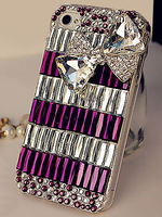 5pcs HOT Handmade Bilng White Purple Crystal Rhinestone Diamond Case Back Cover With Bowknot For iPhone 4 4S 5 5S 6 6 Plus