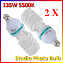 2Pcs/lot Bright E27 220V 5500K 135W Photo Studio Bulb Video Photography Daylight Light Lamp CFL for Digital Camera
