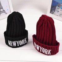 2014 Free Shipping Autumn winter fashion cotton warm Unisex Embroidered knit cap Alphabet Korean style men women lovers hats