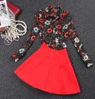 Dka180 2014 autumn new European and American fashion retro temperament printing two-piece suit