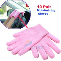 10 Pair 2014 Hot Pink Gel Gloves Moisturize Soften Repair Cracked Skin Moisturizing Treatment Spa Glove Hand Protection F0260XX