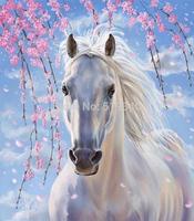 Diy Diamond painting plum blossom white horse 35x40cm decorative painting handwork resinstone square full diamond painting sets