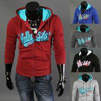 2014  new fashion korean style lovers overcoat  slim men cardigan hoodie  5 colors S-XXL