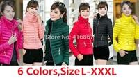 new 2014 Outerwear Women coat Winter Down Jacket down casual winter jacket women thin long-sleeve wadded plus Size parka womens