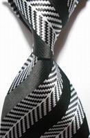 High Quality Wholesale&Retail New Striped White Black JACQUARD WOVEN Men's Party Wedding Tie Necktie Drop Shipping