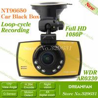 Free shipping NT96650 Full HD DVR Support G-Sensor+1920*1080 30fps+AR0330+Night Vision+170 Degree Angle Lens+SOS+LDWS +H.264+WDR