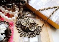Cinnamon Vintage Owl Pendant Necklace Fashion Jewelry