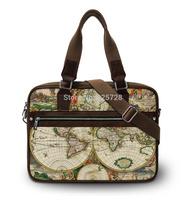 2014 Vintage world print Canvas laptop bag women men notebook bags shoulder handbag for 15'' 15.4 15.6 inch computer accessories