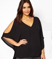 Casual Shirt Women Spring Summer 2014 Long Sleeve Chiffon V-neck Blouse Batwing Sleeve Plus size 4XL 5XL 6XL ,B2777