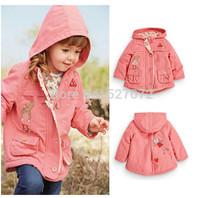Hot sale! 2015 spring$autumn girl's brand coat best quality coat girl's European-American design children's clothing with cap