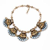 Exaggerated Retro Geometric Triangle Gemstone Necklace