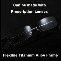 I-bright flexible men's business titanium alloy glasses super-elastic ultralight semi-rimless myopia glasses frame