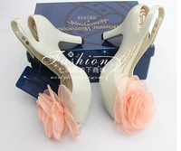 lady fashion party sandal sweet  melissa jelly shoe with big flower wedding love summer  women high heel pumps free shipping