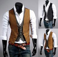 New Men's Fashion False two VEST MEN Coat Male Suit Casual Suit Men's Clothing handsome Outerwear