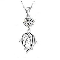 Free shipping Pt950 Platinum & S925 Sterling Silver 1.2 Carat Pure CZ DIAMOND Lovers' dolphin Necklace free shipping nickel free