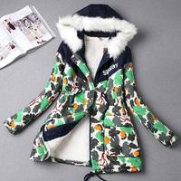 Autumn and winter HARAJUKU wadded jacket cotton-padded jacket outerwear female medium-long plus size Camouflage trench outerwear