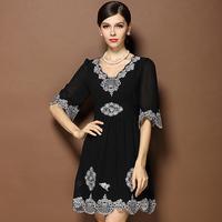 women new  vintage fashion black flowers embroidery plus size xl xxl xxxl 3xl loose pullovers one-piece dress