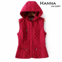2014 Autumn Winter New Arrival Casual Slim Women Hooded Sleeveless Vests Woman Tops