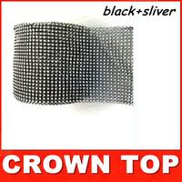 "Free shipping 4.75""x 1 Yards Wedding decoration Black+Silver Crystal Ribbon Party Christmas decorations Wrap/ ribbon"
