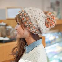 New winter wool hat knitted cap Korean sweet fashion knitting lovely ball hat DG0342