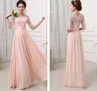 S-L(Pink+White)Free Shipping European Style Elegant Lace Chiffon patchwork Crochet Braidmaid Dress For Weddding 141113#4
