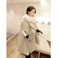 Thickening woolen outerwear medium-long loose cloak woolen fur collar overcoat cloak female