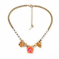 Pin Color Drip Glaze Flower Pendant Necklace Women