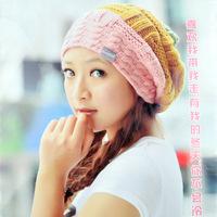 Winter new fashion lady tricolor cap spell color knit cap hat warm tab DG0330
