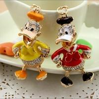 4 colors Girl women Gift  Rhinestone Duck Key chain metal Keychain Alloy Keyring,Gold Plated ,Handbag Charms