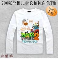 Plants vs . zoombies 2  white o-neck long-sleeve t-shirt 100% cotton Children's clothes Plants vs zombies T-shirt