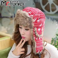 Korean cute deer winter warm northeast hat knitted cap Ms. Lei Feng hat earmuffs hat DG0884