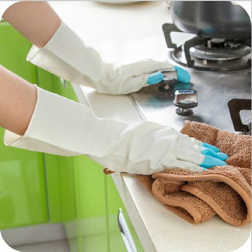 1pair Lot Rubber Waterproof Long Gloves Kitchen Wash