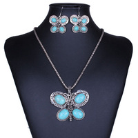 Vintage Silver Turquoise Butterfrly Pendant Necklace and Earring Jewelry Set 2014 New Fashion Jewelry Free Shipping