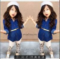 2014 Sale Coat Solid 2015 New Arrive Retail Girl's Clothing Set Children's Baby Girl Suit Sets Shirt+belt+ Leopard Legging Pants