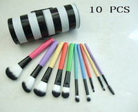 FREE SHIPPING 2015 new mix 10Pcs/set  Professional brush with leather pouch (10 PCS)