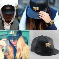 Newest Arrival. Fashion Pyramid stud  Leather pu brand baseball caps for women man punk rivet caps