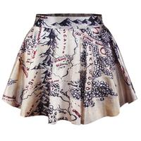 Lord of The Rings Skater Skirt Middle Earth Map Skirt  Mini Short  Pleated Circle Skirt