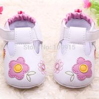 Free ShippingPU Leather Girls Kids Newborn Baby Flat First Walkers Shoes Princess  printing -flower Soft Bottom Prewalker ShoesF