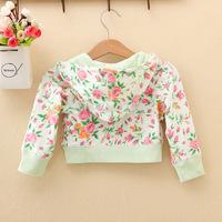 Winter 2014 Baby Floral Leisure Long Sleeve Hooded Fleece Children's Jacket  Coat girl outwear