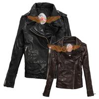 2014 New Vintage washed sheepskin women genuine leather jacket motorcycle type for Dieseler
