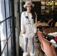 2014 New Fashion Unisex Sweatshirt O-Neck Long Sleeve Hoodies  Pure color Cat Animal Pullovers Sweater Women/Men Sweaters
