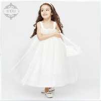 Sweetheart Spaghetti Straps Wedding Dress Appliques Sleeveless Flower Girl Dress Ball Gown Ankle-Length Wedding Party Dress